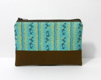 SALE- Zipper Pouch, Teal Vines with Brown, One of a Kind