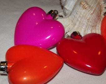 3 Heart Shaped Ornaments Pink, Red and Orange, Valentines day
