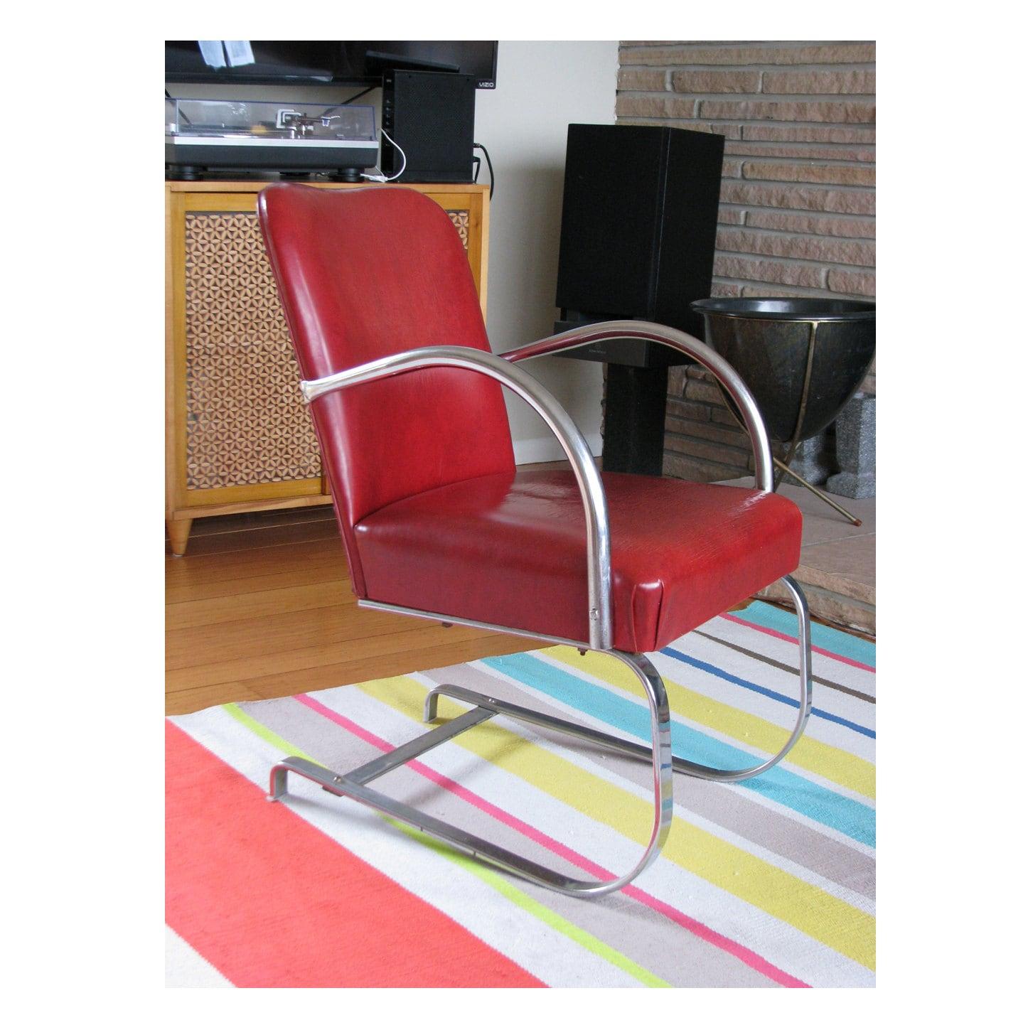 Red Rocking Chair Band ~ Art deco tubular chrome springer chair original red vinyl