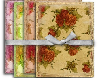 Digital Collage Sheet Download - A4 Vintage Roses Backgrounds -  1120  - Digital Paper - Instant Download Printables