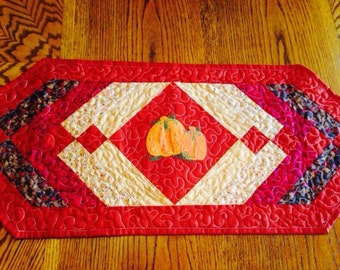 Quilted Table Runner Rust Fall Colors Two Pumpkins Applique