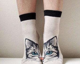 Boot Socks Women Socks Leg Warmer Christmas Socks Boot Socks Cat Socks Ladies Casual Cotton Socks Ankle Socks