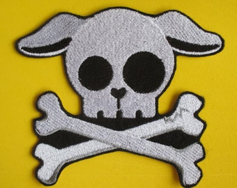Large Embroidered Pup, Puppy Skull Applique Patch, Iron On, Sew On, Skull and Cross Bones, Skeleton Patch, Skull,  Pup Skully, Gothic, Dog