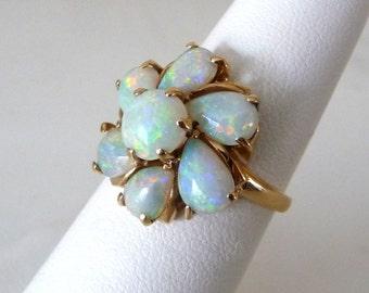 14k Genuine Vintage Opal Ring Yellow Gold Jewelry Australian Opals