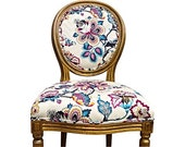 French Louis XVII Side Accent Chair Vintage Upholstered Floral Botanical Colorful Fabric Tribal Ethnic Colorful Pink Yellow Grey Bright Ikat
