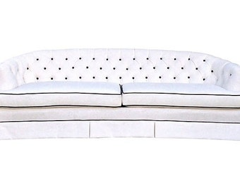 Hollywood Regency Tufted Upholstered Sofa Couch White Black Crystal Buttons Curved Large Custom Special Order