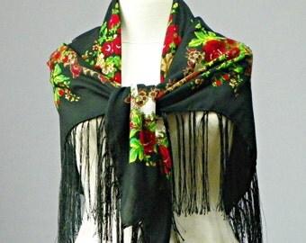 Scarf, Russian shawl scarf, square scarf, flower pashmina cozy scarf, fringed fashion scarf, Vintage Ukrainian shawl, Scarf With Tassels
