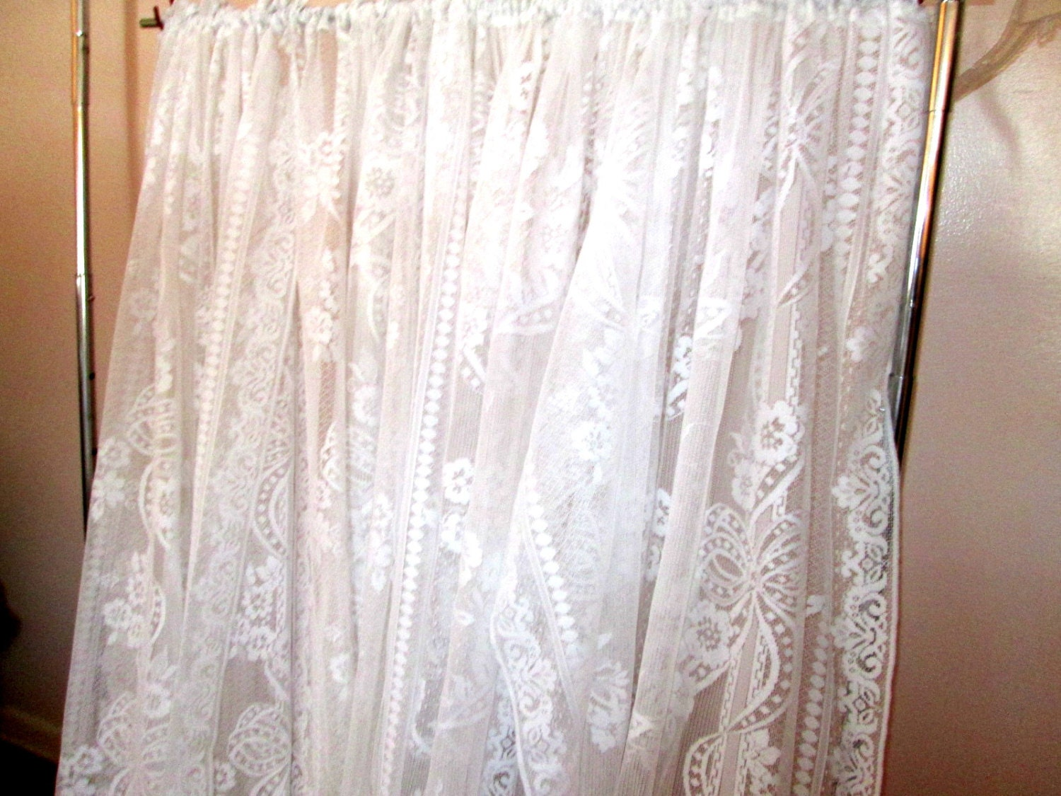 drapes 4 panels vintage lace curtains white on by myshop1020