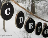 Chalkboard Alphabet Letters Wood Slice Banner, Rustic Decor Primitive Sign Spelling Elementary School Homeschool Waldorf Black Mother's Day