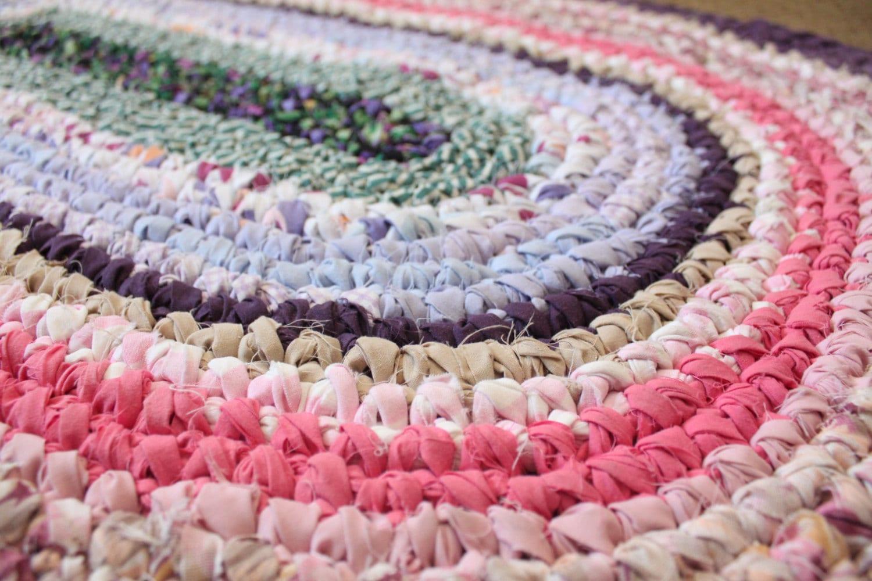 Crochet Pattern Oval Rug : OVAL Crochet Rag Rug Toothbrush Pink & Purple by MyLoveForYou