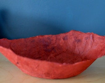 Deep Red Bowl Handmade Paper Bowl Red Black decorative ornamental paper papier mache bowl original artwork housewares