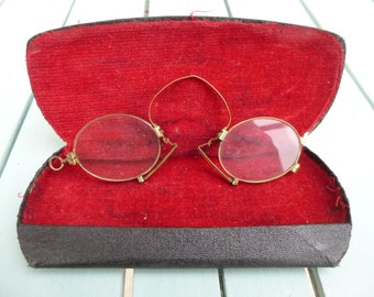 Vintage Pince Nez Glasses lozenge Frame Antique Spectacles Optician Prescription