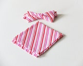 Candy Cane Bow Tie with Matching Pocket Square