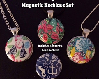 Lilly Pulitzer Inspired Interchangeable Magnetic Pendant Necklace