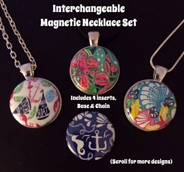 lilly pulitzer inspired interchangeable magnetic necklace with