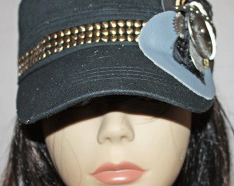 Black Vintage Style Cadet Cap with Steampunk Style Embellishments