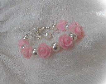 Bracelet for flower girl-Flower Girl Bracelet-Gift for Flower girl-Childs Flower Bracelet-Rose Bracelet-baby bracelet