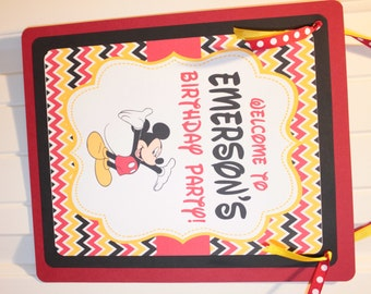 CHEVRON MICKEY Inspired Happy Birthday or Baby Shower Door or Welcome Sign - Party Packs Available