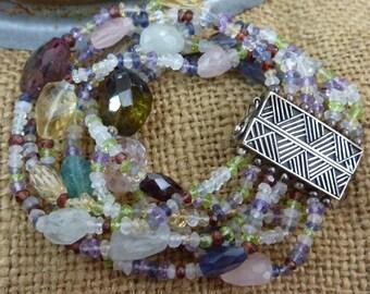 NORTHERN LIGHTS 2 tourmaline, garnet, rose quartz, amethyst sterling multi strand gemstone  bracelet