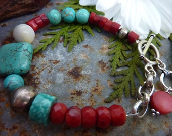 CORAL AND Turquoise  HOWLITE Sundance Style boho sterling stacking bracelet