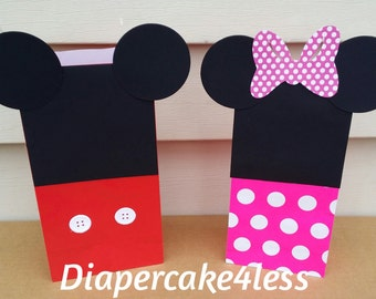 10 Mickey and Minnie mouse inspired favor bags red or pink