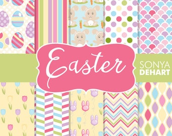 Digital Paper Easter Bunny Patterns Eggs Tulips Commercial Use DP117