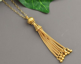 Gold Tassel Necklace - Long Layered Necklace - Layering Necklace - Statement Necklace