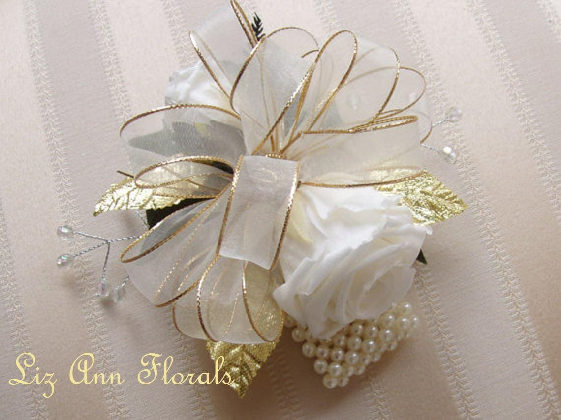 50th Golden Wedding Anniversary Wrist Corsage Pin On Corsage