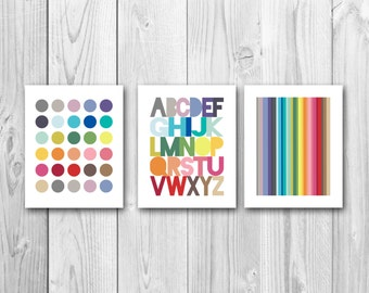 Alphabet art, nursery art, playroom art, ABC, modern kids art, instant download