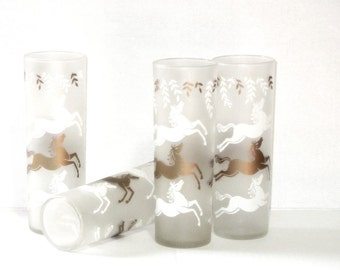 Twelve Cavalcade Prancing Horse Glasses Collins Tumblers Kenturcky Derby Party Gold and White Frosted 1950s Dozen Holiday Barware Man Cave