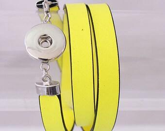 "1 Yellow Leather Wrap Bracelet - 7"" FITS 18MM Candy Snap Charm Jewelry Silver kb0042 CJ0060"