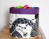 Fabric basket ,Purple lining ,Storage Basket , Eco friendly ,Cotton ,Organizer Bin Basket ,Home Organization