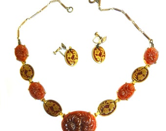 Early 1900s Czech Carnelian Carved Necklace and Earrings