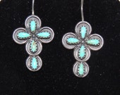 Turquoise and Sterling Silver Cross Pendant and Necklace