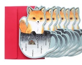 Christmas Fox in Teacup card - Boxed set - Holiday card set
