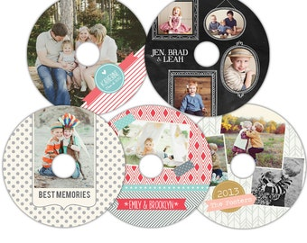 Instant download - CD/DVD Label templates - Simply Joyful-  E854