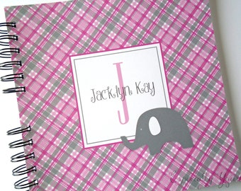 Baby Book |  Baby Memory Album | Grey Elephant Pink Plaid Personalized Wire Bound Baby Memory Book Keepsake Album