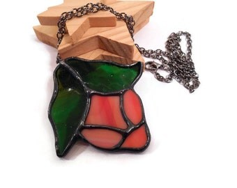 Stained Glass Pendant Unique Floral Jewelry Handmade Jewelry Glass Metal Jewelry Flower Necklace Peach Green Flower Pendant Glass Necklace