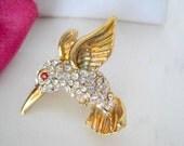 Bird Brooch Hummingbird  Rhinestone Collectible Bird Pin