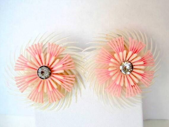 Pink Earrings - Plastic Feathery Flower - Rhinestone Centers - 60's Clip On