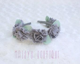 75% OFF Grey Mini Flower Girl Crown/ Flower Girl Headband/ Wedding Headband/ Photo Prop/ Flower Crown