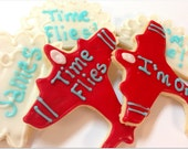 Airplane & Cloud Sugar Cookie Iced Decorated Cookie Time Flies Personalized First Birthday