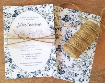 Rustic Wedding Invitation / Lace Invitation / French Toile wedding invitation / dusty blue invitation / french countryside invitation