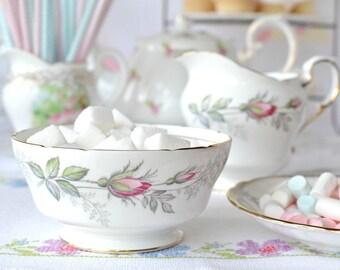 Elegant Paragon cream jug and sugar bowl in Bridal Rose pattern, pretty creamer and sugar basin for a special tea party
