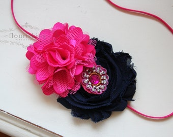 Hot Pink and Navy  headband, pink flower headbands, navy headbands, baby headbands, newborn headbands, photography prop