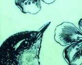 "Original Encaustic Painting ""Bird & Flowers"""