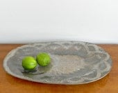 Large Vintage Dorothy Thorpe Crystal Serving Tray Platter Atomic Glass Sterling Silver Accent Mid Century MCM Decor
