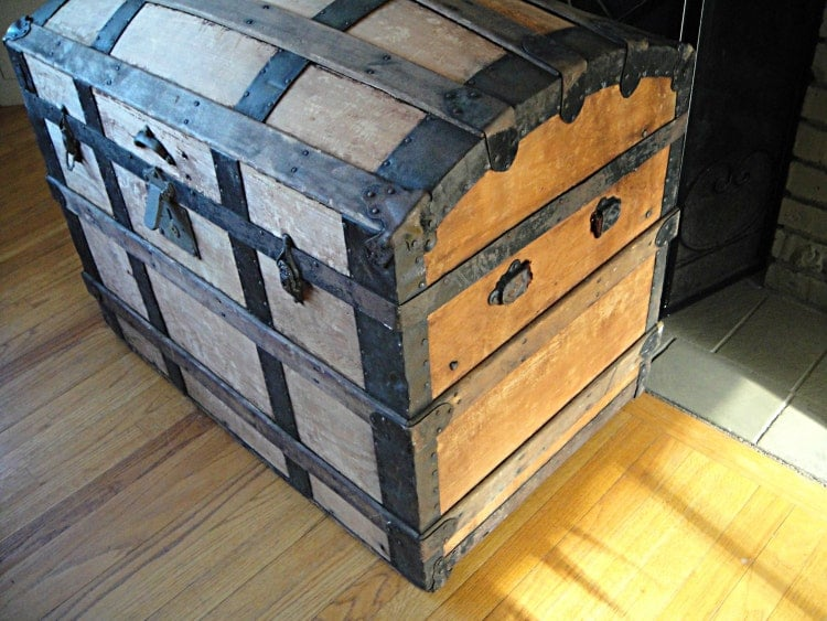 large trunk 1860s antique steamer trunk by rustynaildesign