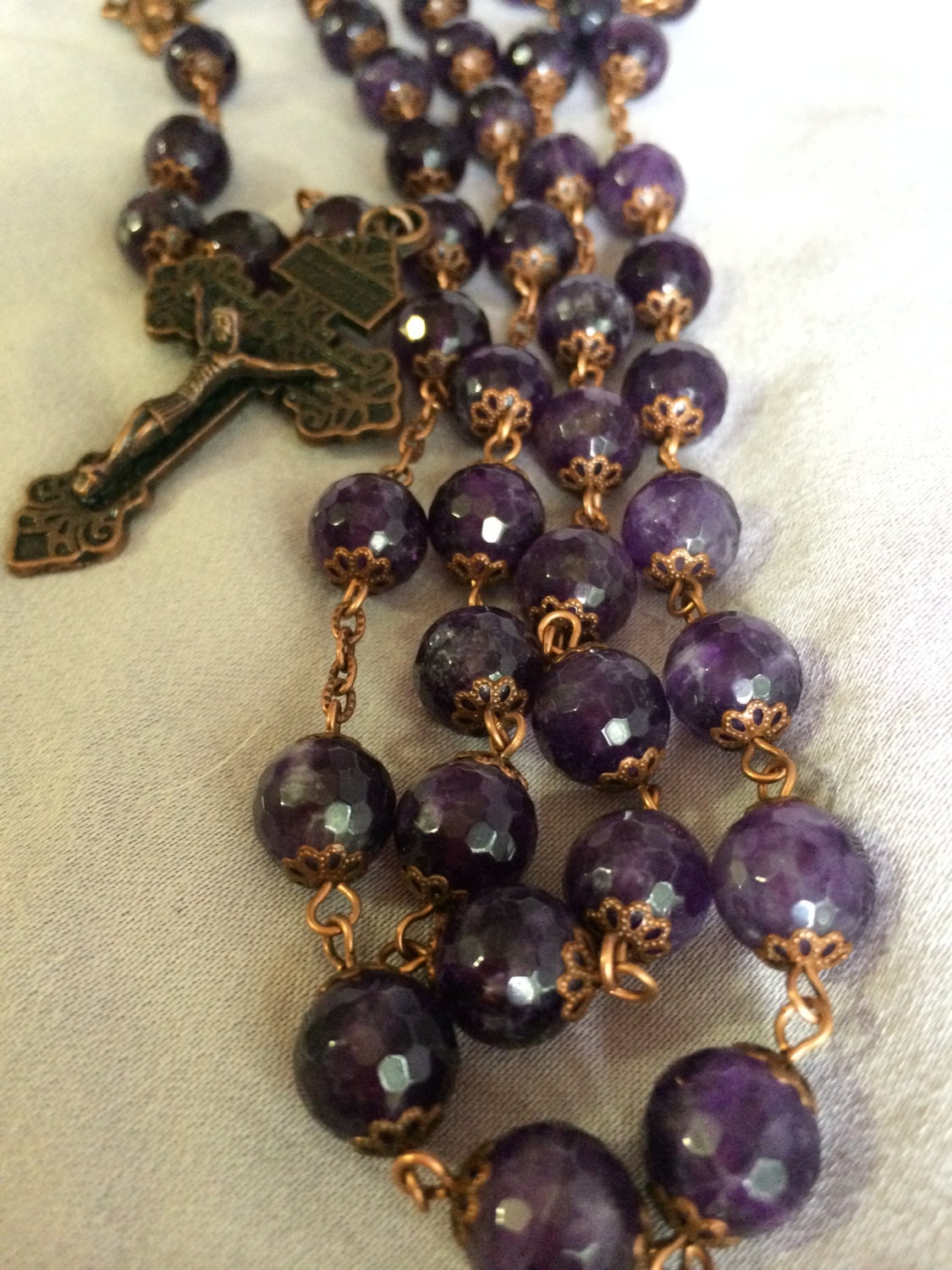 Large 10mm Amethyst Natural Stone Bead Rosary In Copper