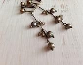 Clip On Earrings, Freshwater Pearl Clip Earrings, Copper/Green Pearl, Screw Back Clip-on, Non Pierced Earrings
